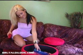 Vanessa filling her teen snatch with a brutal dildo