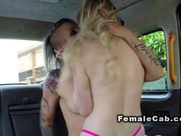Lesbians fucking in backseat in fake taxi