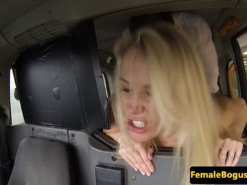 Busty UK cabbie doggy styled before rimming