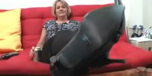 Sweaty mature feet