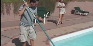 Milf seduces pool boy