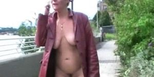 Masturbating exhibitionist mature