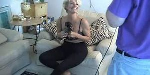 Sexy posing hot justine blonde mature