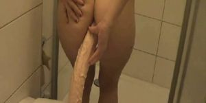 Pissing with dildo in her ass apologise