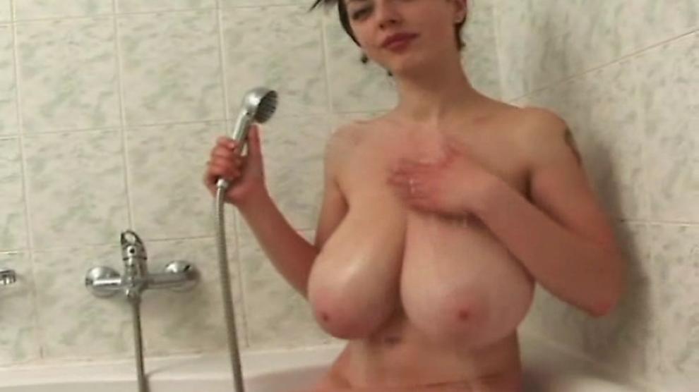Huge breasts babe teasing hard