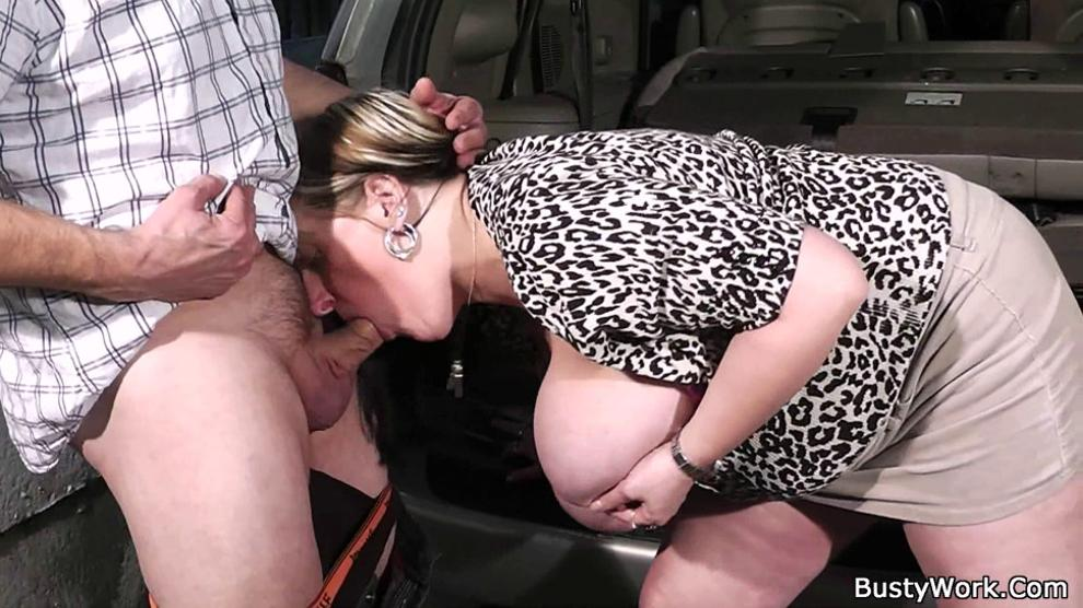 Big melons woman gives head and fucked at work
