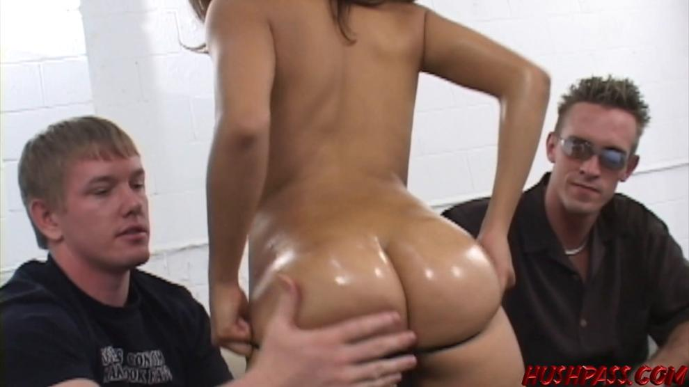 HUSH PASS - Big Booty Sophia Oils up For Doggy Style Big Cock Threesome