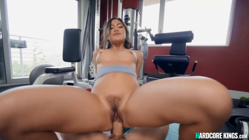 Asian beauty pov fucking after workout