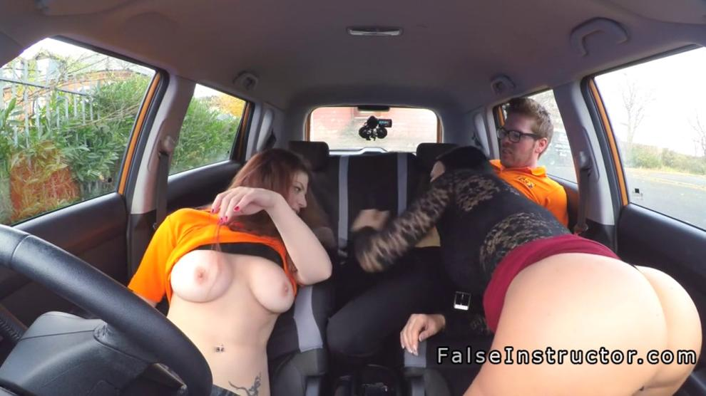 Busty babes threesome in driving school car - video 1