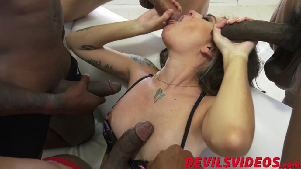 DEVILS VIDEOS - Interracial gang bang with cute BBC loving brunette