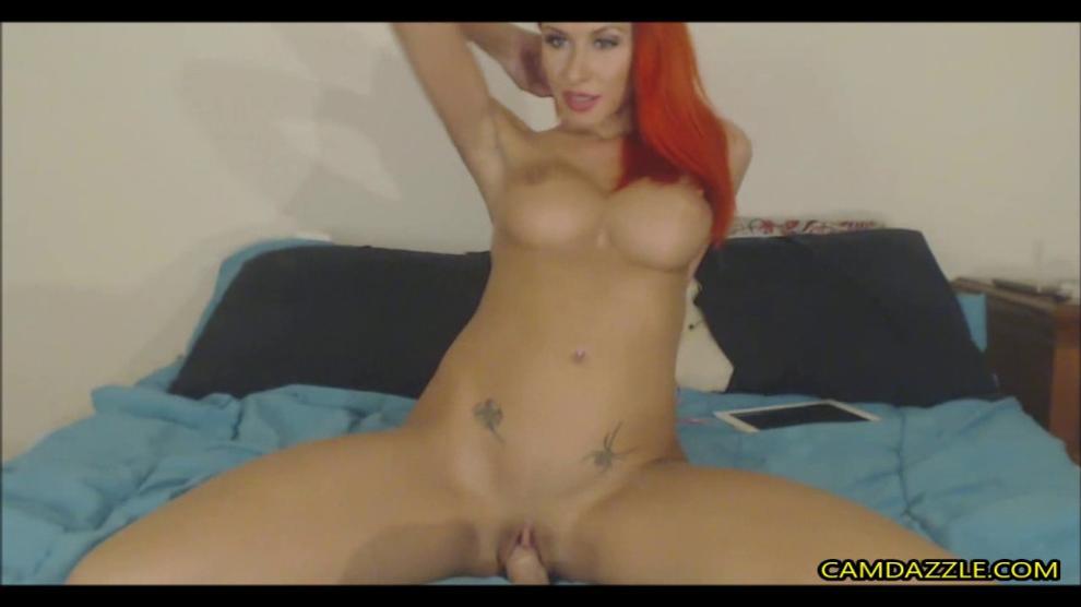 CAMDAZZLE - Busty Redhead Slut Fucks Dildo Hardcore