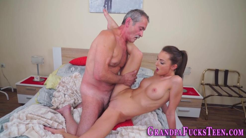 Riding Teen Jerks Gramps for Cumshot
