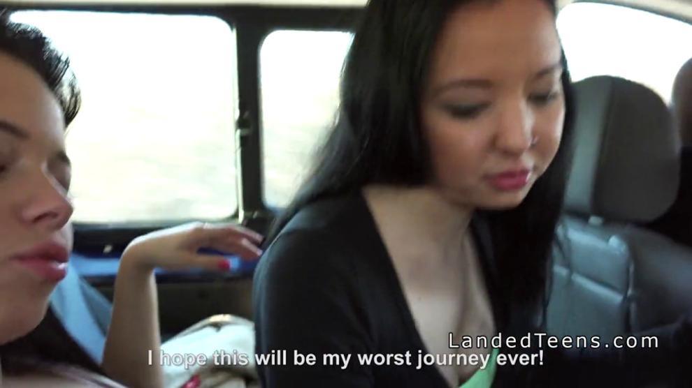 Three teen hitchhikers banging