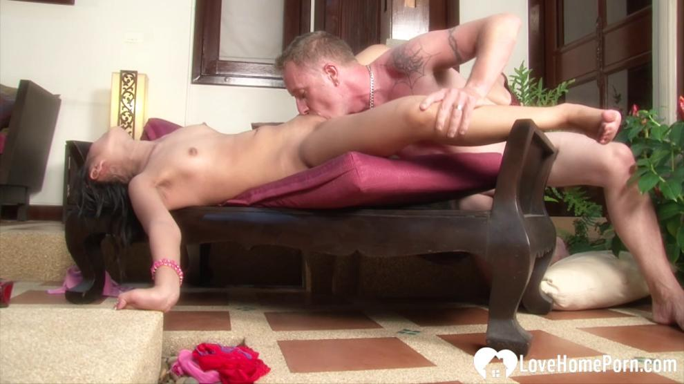 LOVEHOMEPORN - Sexy girl with nice tits sucking a dick