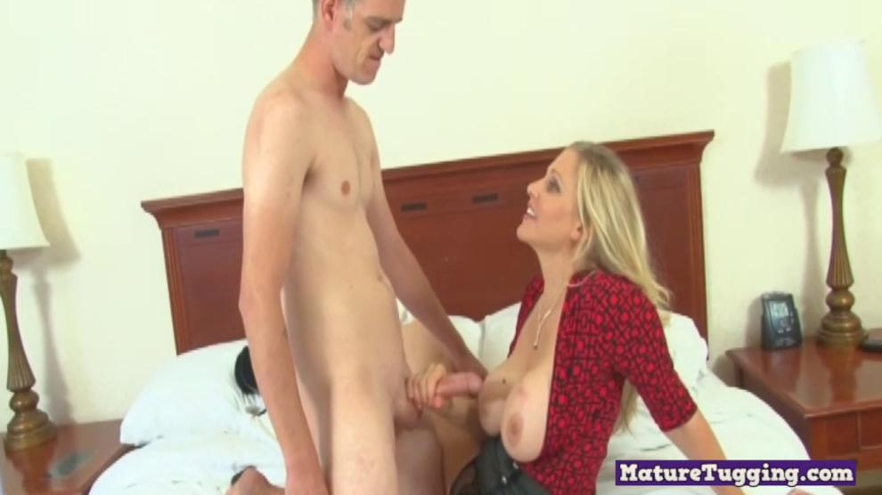 Cock Tugging Milf with Big Knockers Jerks Dick