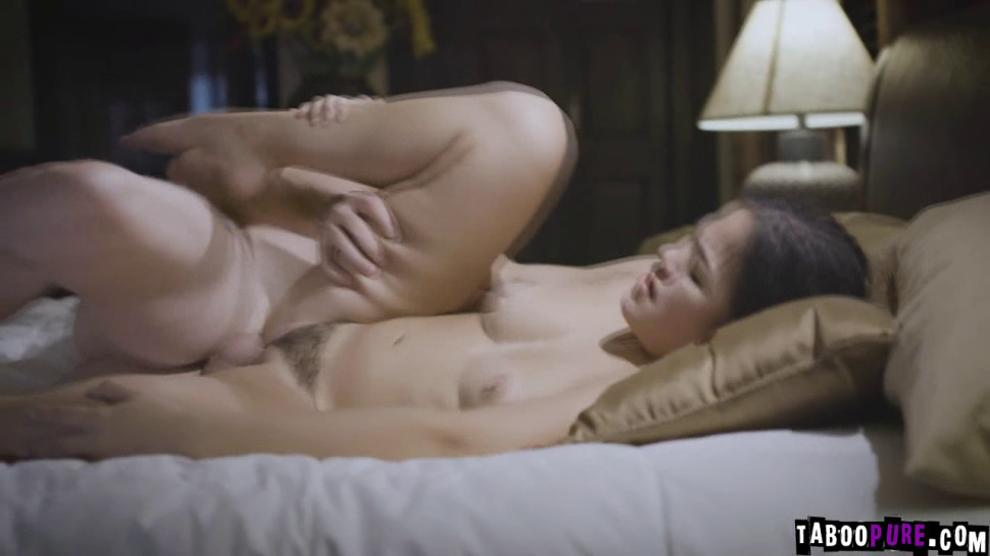 Kendra waited for dad in her room ready to have sex with him