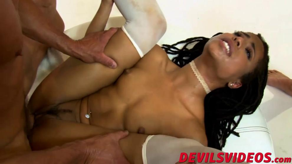 Out of this world black babe lusts for many big white rods