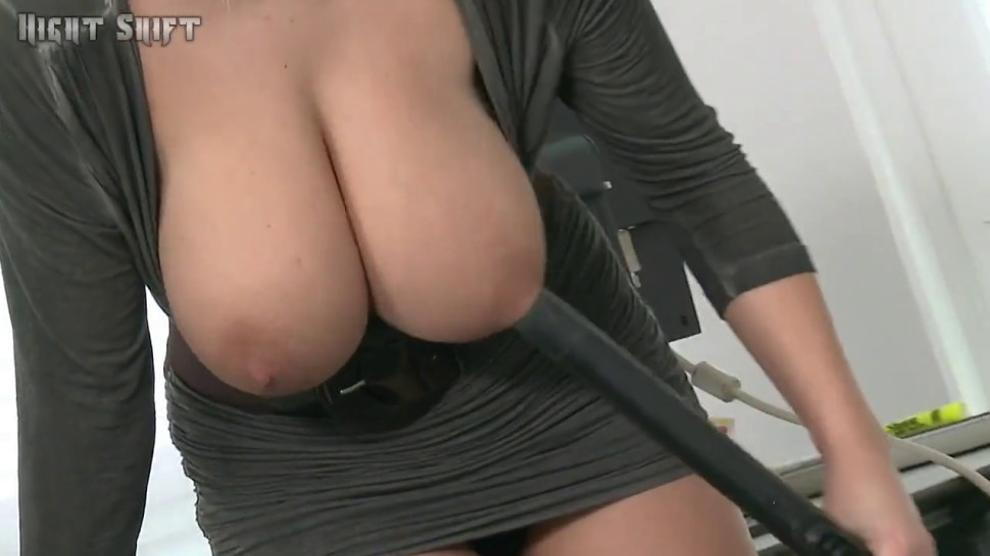 Blonde girl with awesome tits and her vacuum cleaner