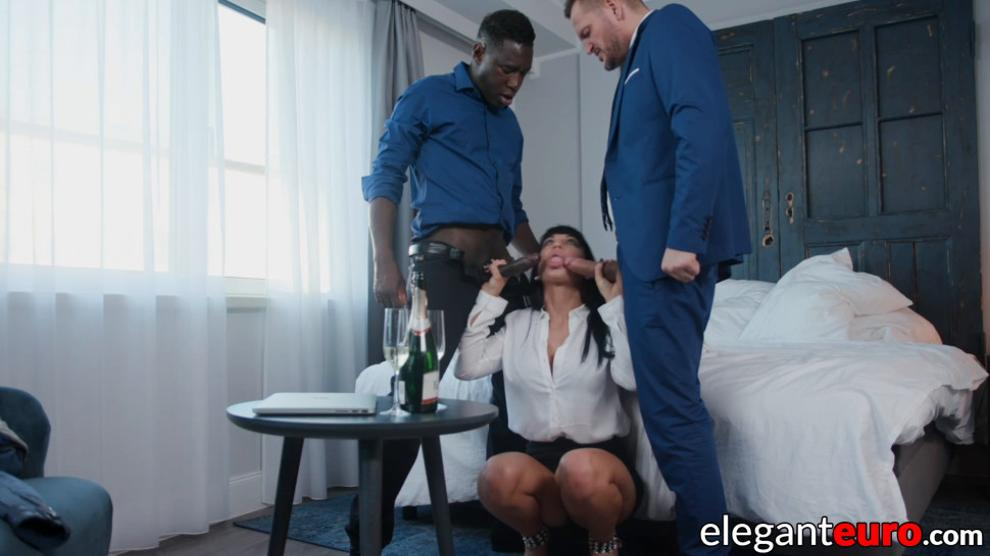 ELEGANT EURO - Two hung hunks DP fuck a hot dark haired Eurobabe