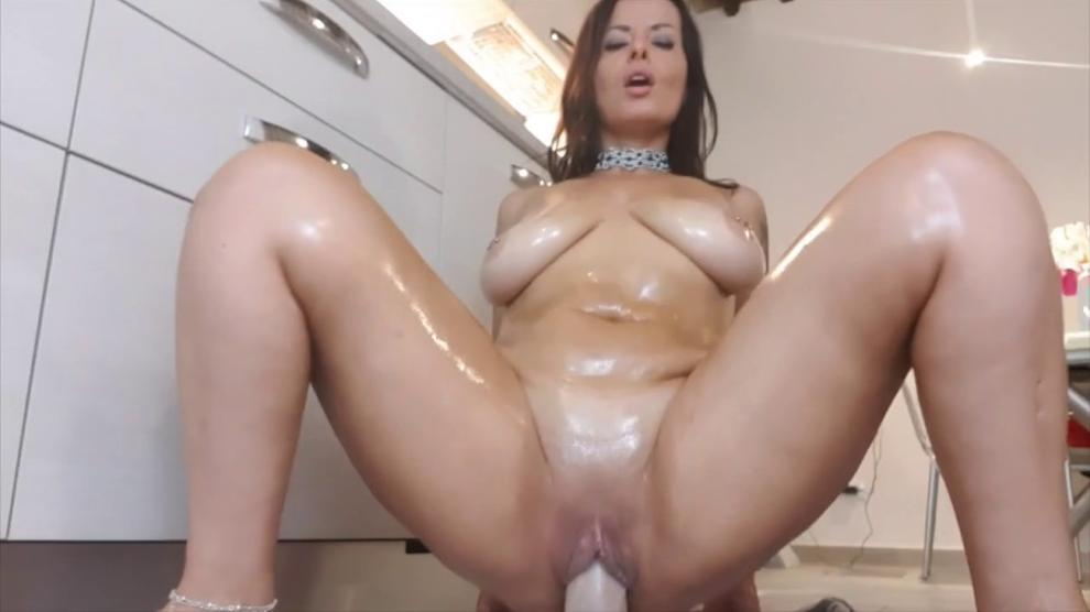 Mommy rides the biggest dildo she have