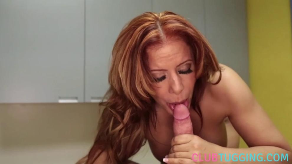 CLUBTUG - Busty masseuse tugging and licking cock pov