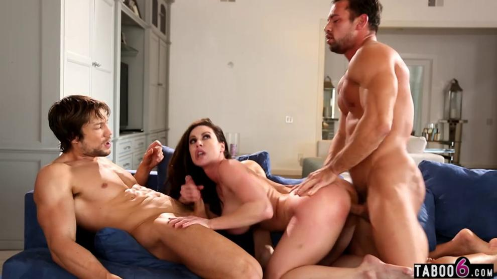 Two men score with big boobs MILF Kendra Lust