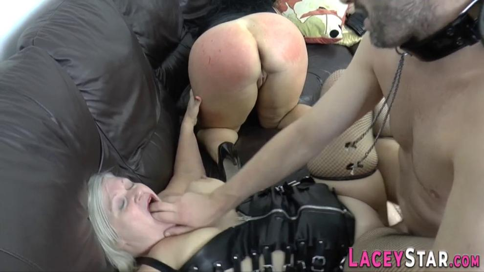 Gran in latex lingerie sucks and fucks