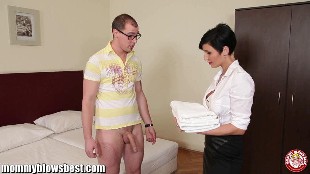 Busty euro MILF Maid is sucking the hotel client