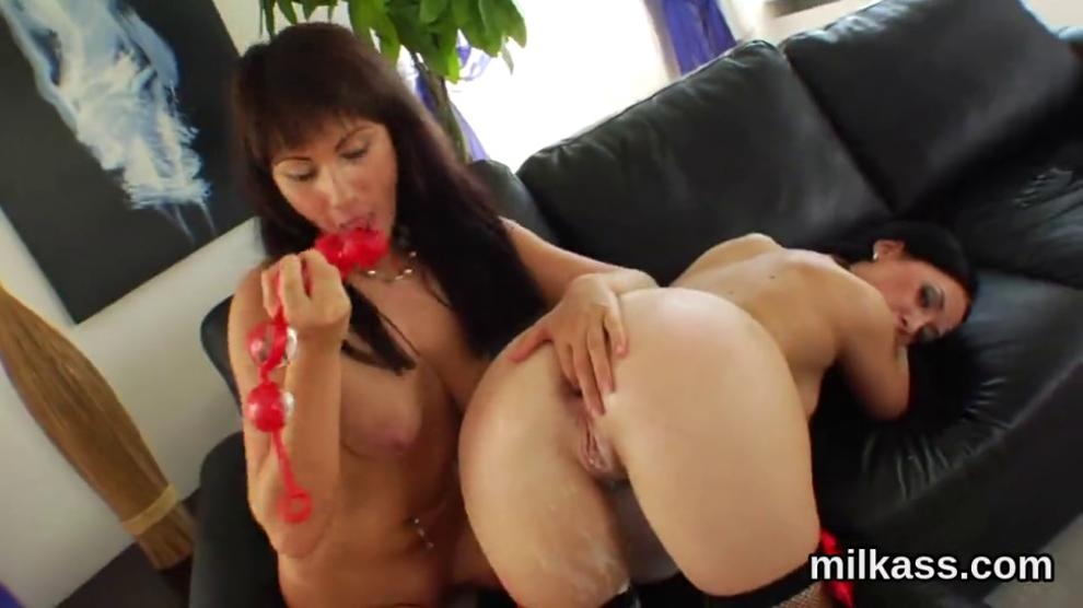 Spicy lesbians fill up their massive asses with whipped cream and squirt it out