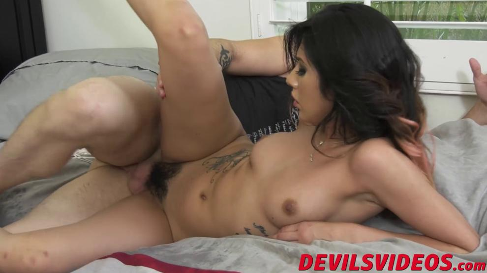 Cute chick gets her bushy muff eaten out and plowed hard