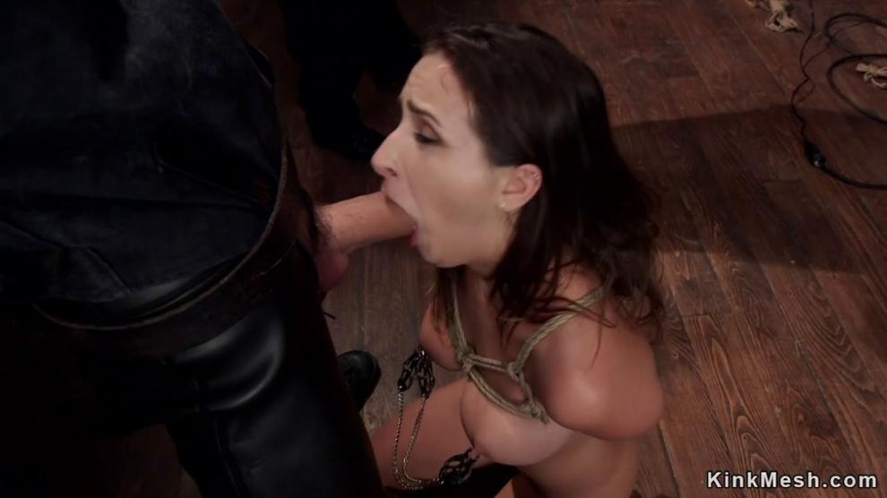 Master in Leather Fucks Brunette Sub