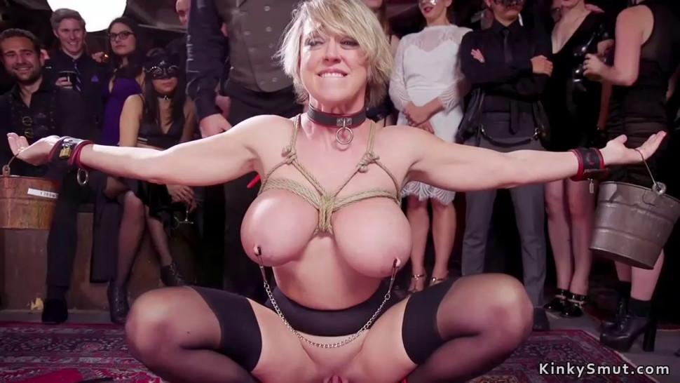 Ebony nipples tormented at bdsm party