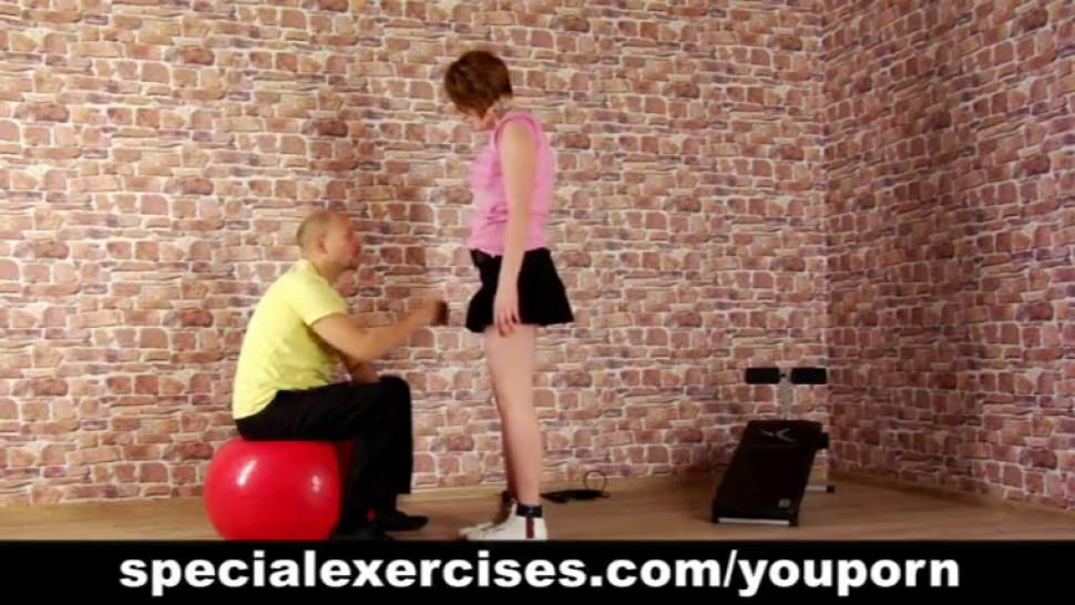 Naked sport training for young lady