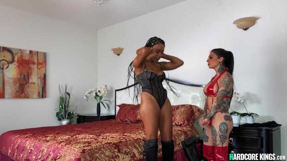 Busty tattooed lesbian MILF and ebony