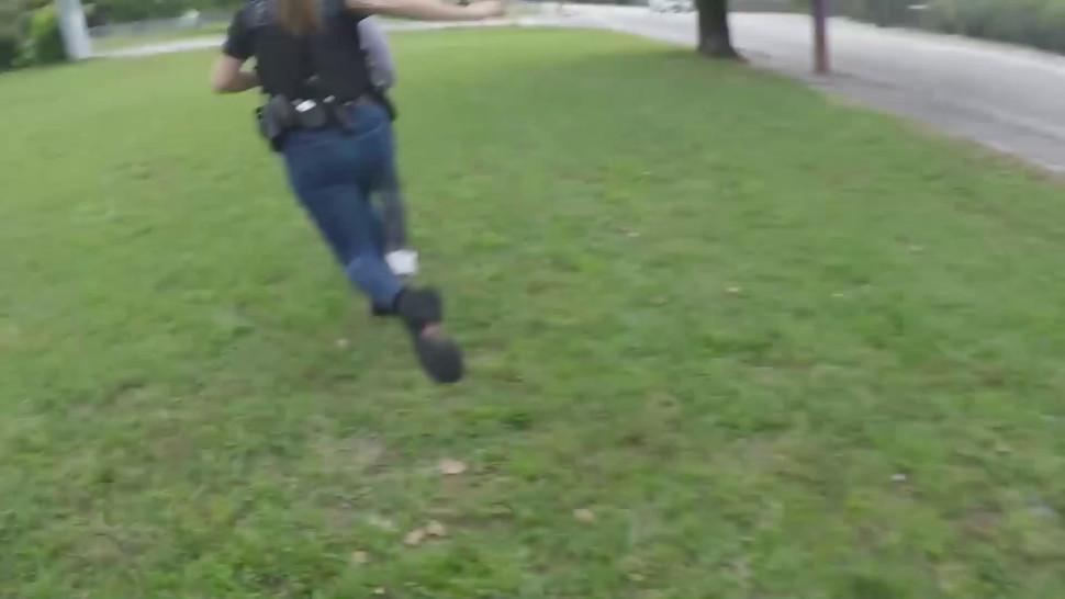 Tattooed cop gets fucked by black dude with massive cock in a threesome with another horny cop