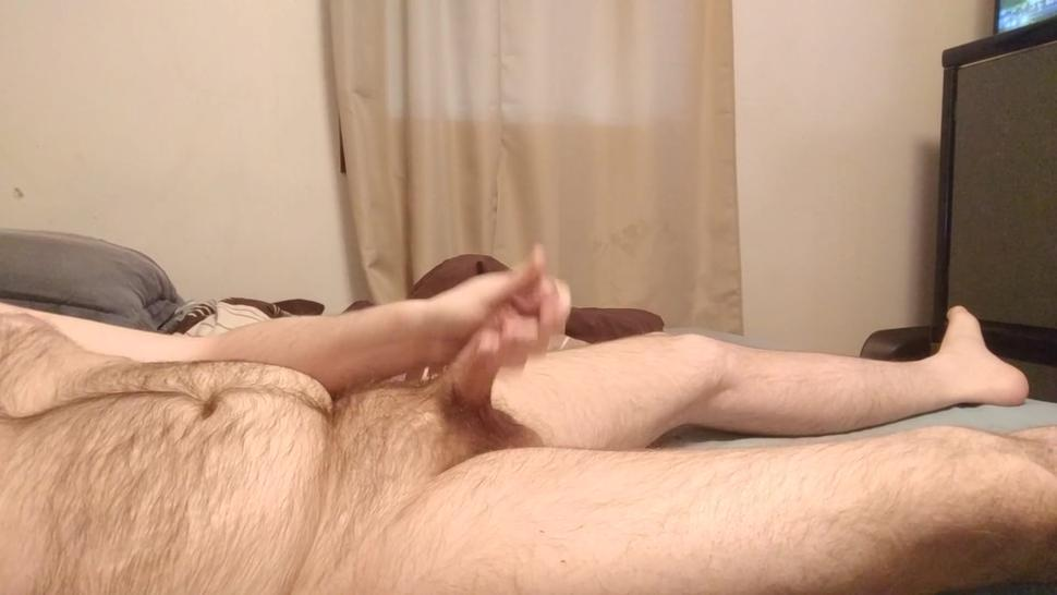 Hairy daddy strokes his big cock while talking dirty
