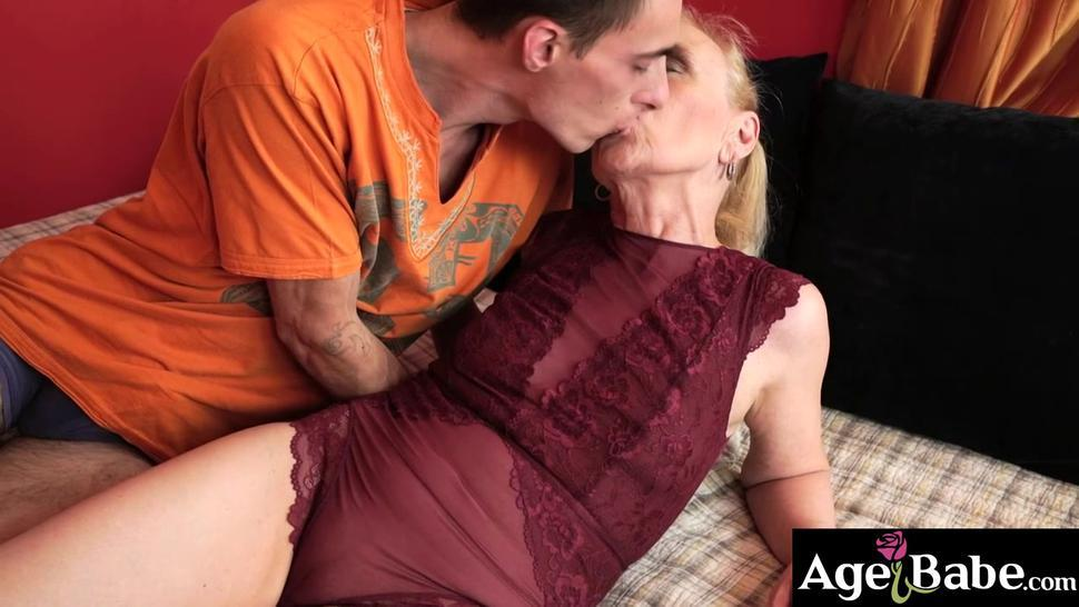 Young stud Levy rides granny Nanney to multiple orgasms