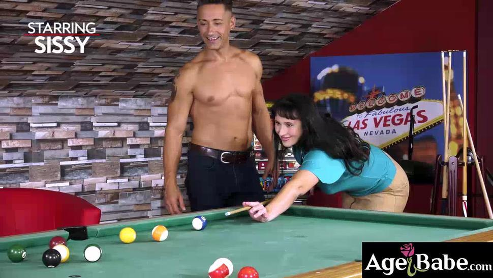 Sexy Sissy is interested in learning how to play pool from her hot boyfriend Mugur