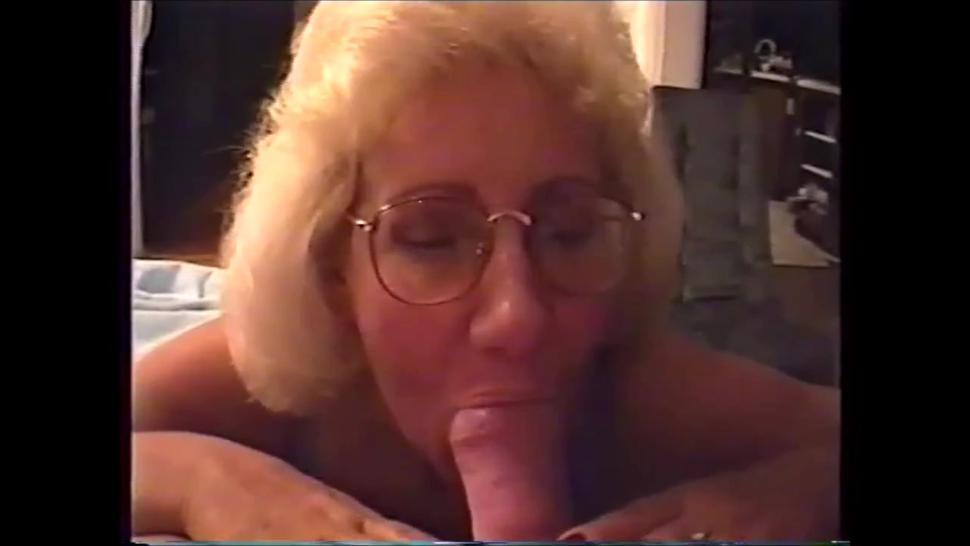 Breasted older woman sucking dick very slowly and swallow cum