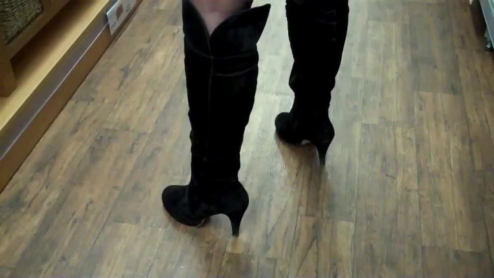 Tartan MiniSkirt Black stockings Black Thigh-High Boots