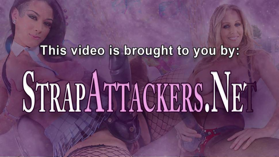STRAP ATTACKERS - Busty redheaded milf strapon pounds black ass