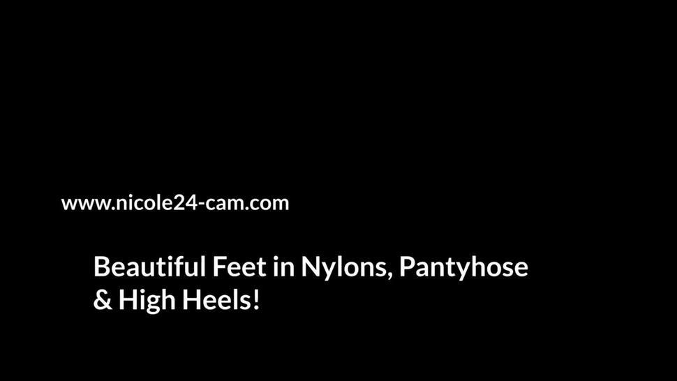 Sexy Nylon Handjob Cum inside a Black Stocking