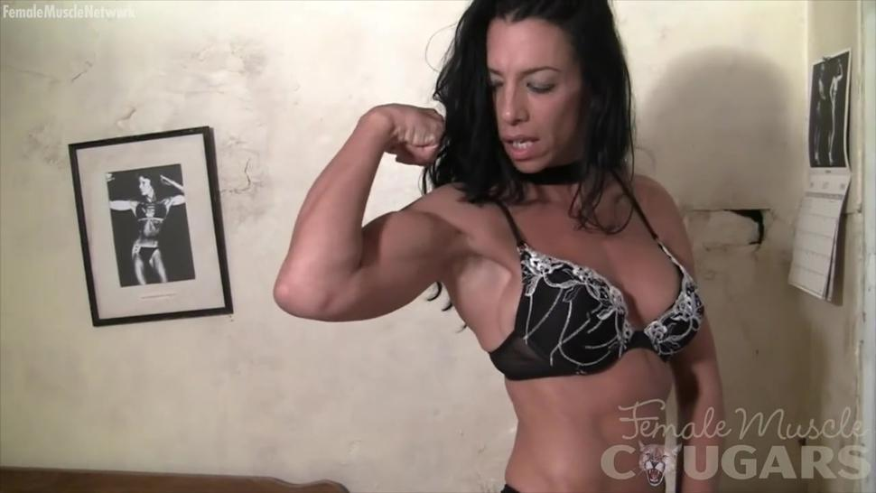 Beautiful mature muscle bodybuilder poses and flexes