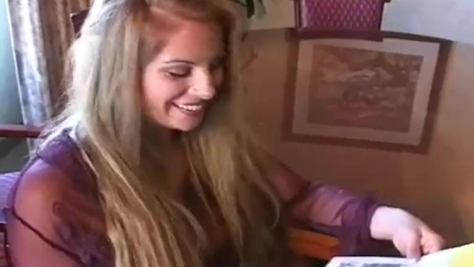 Gorgeous blonde girl smoking & teasing