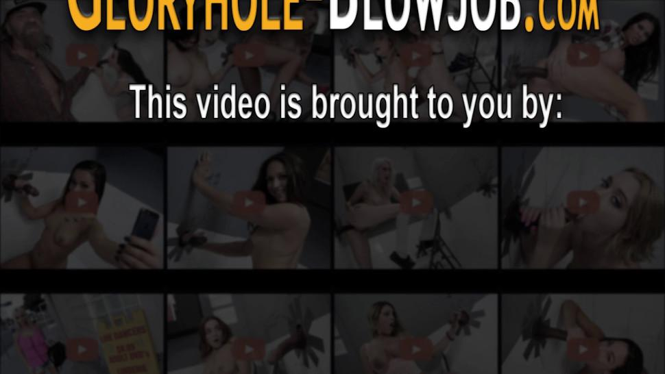 Glory hole whore drips cum from her ass