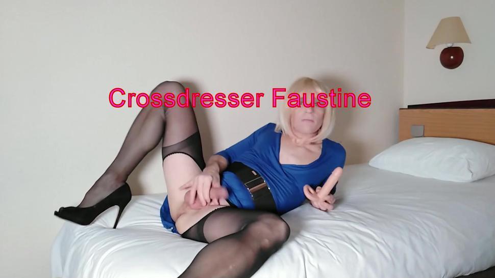 Crossdresser Faustine Blue Dress in Hotel Room Dirty Show Part 2