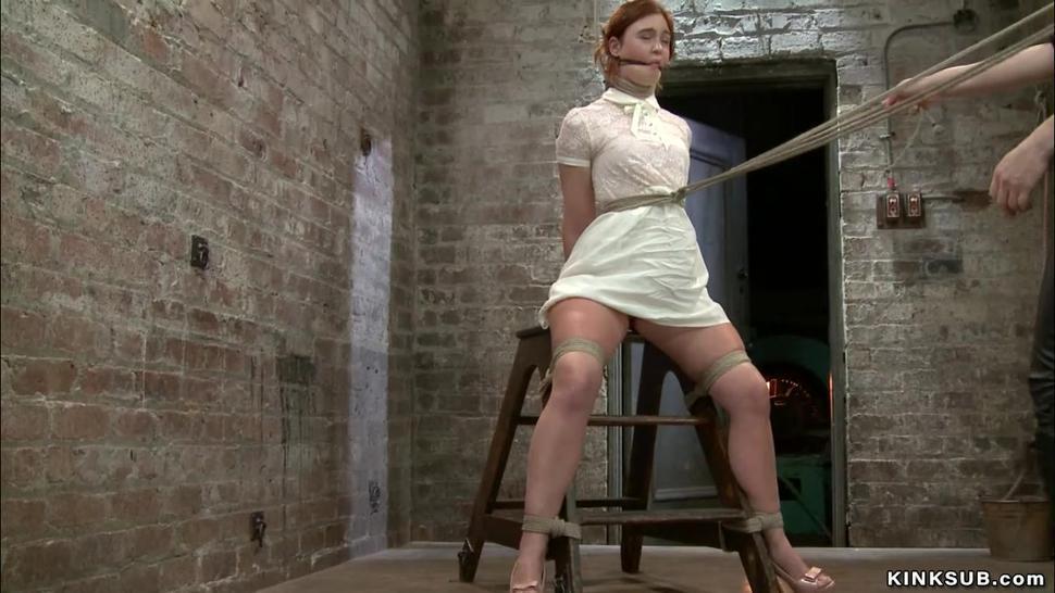 Redhead lesbian anal hooked on hogtie