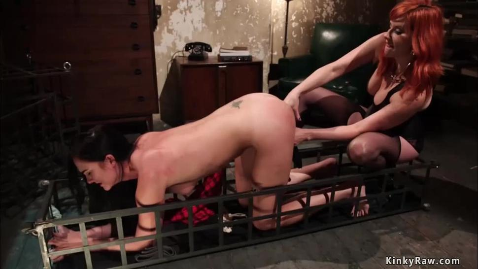 Lesbian in rope bondage is anal fucked