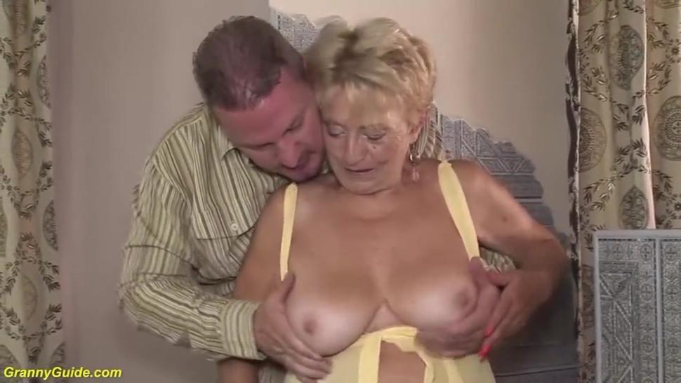 Shameless granny gets hairy twat nailed by younger male