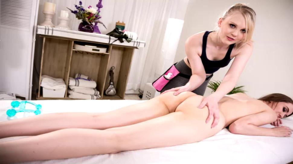 Gorgeous Masseuse Sophia Grace loves to eat Emma Hixs wet pussy in the table